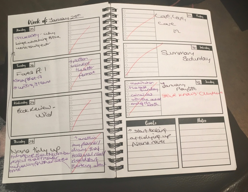 Inside my monthly planner