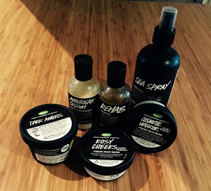 Lush Chat 6, American Cream, Rehab, Sea Spray, Cosmetic Warrior, Rosy Cheeks, Dark Angels